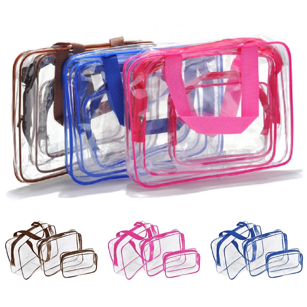 3 Pcs Set Make-up Tasche Waschen Organizer Tragen Beutel Toiletry Wasserdicht Transparent Reise Kosmetische Pvc Reißverschluss Multi-größen