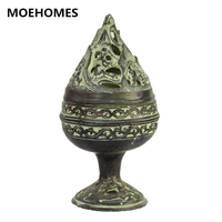Chinese collection of ancient bronze decoration blossom incense burner metal handicraft Gifts family decorations
