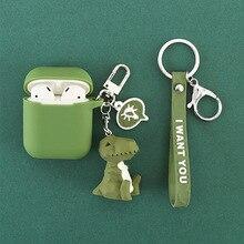 만화 기하학 동물 실리콘 케이스 애플 airpods 케이스 액세서리 블루투스 이어폰 보호 커버 귀여운 고양이 열쇠 고리