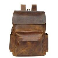 Высокое качество Натуральная мужской кожаный рюкзак мужская сумка для ноутбука Рюкзак Ретро стиль Мужская Дорожная сумка пакет мужской по