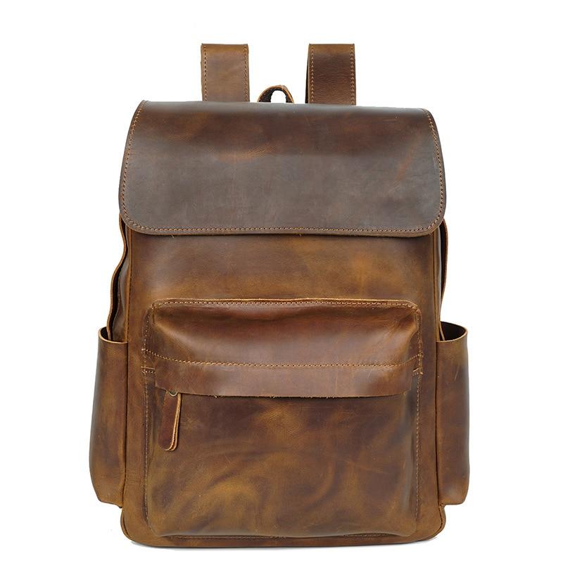 Haute qualité en cuir véritable hommes sac à dos homme sac à dos pour ordinateur portable Style rétro hommes sac de voyage sac pack mâle sacoche 2019 nouveau