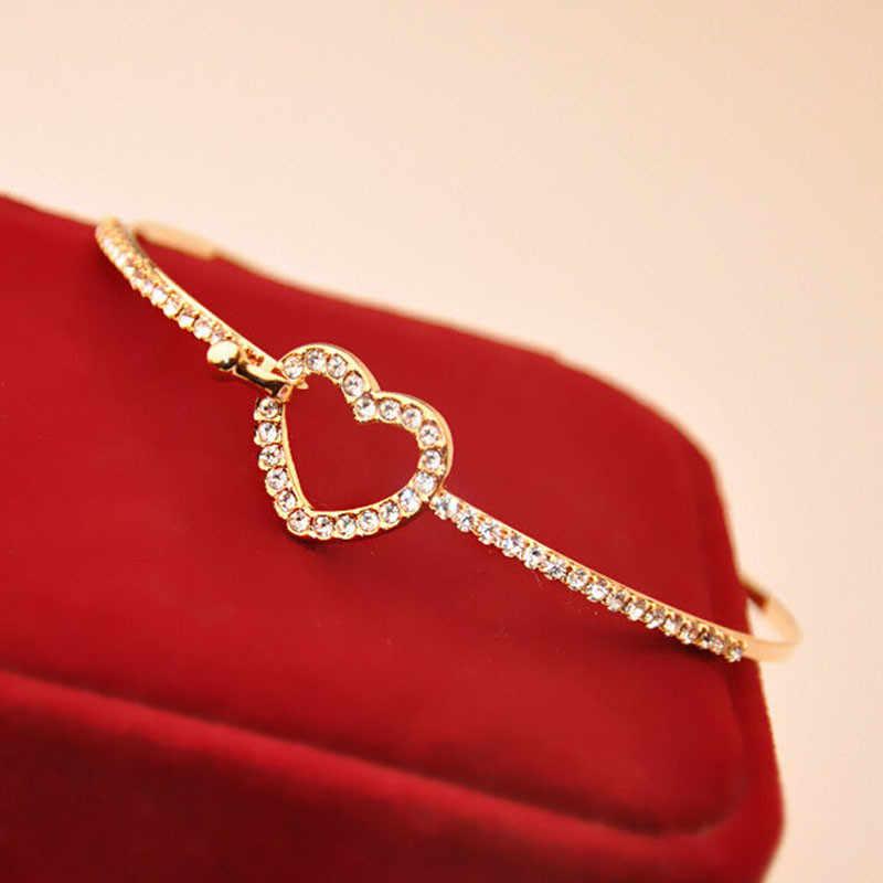 Fashion Style Gold Bracelets Rhinestone Love Heart Bangle Cuff Bracelet Jewelry Wristband Fantastic Shiny Wristlet Bracelets