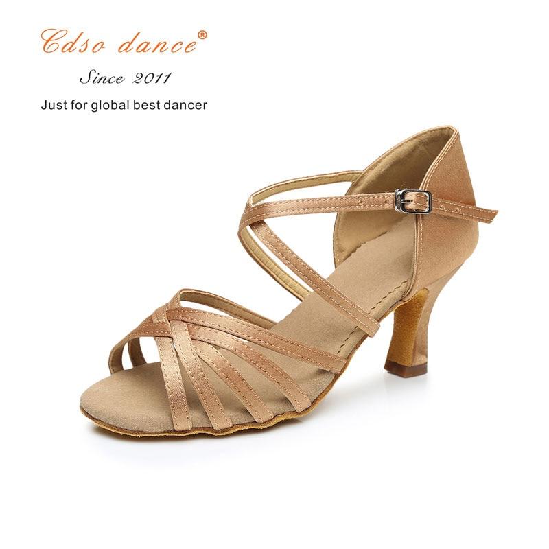 Cdso Dance Shoes 288 Satin/pu Popuplar High Quality Latin Dance Shoes For Women/ladies/girls/tango&salsa 5.5cm /7cm Heel Sneakers