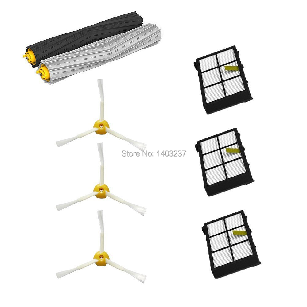 Tangle-Free Debris Extractor Set & 3 Side Brushes&3 Hepa Filters replacement For iRobot Roomba 800 series 870 880 900 series 980 2 set tangle free debris extractor 4 hepa filter 6 side brush fit for irobot roomba 800 900 series 870 880 980 cleaner parts