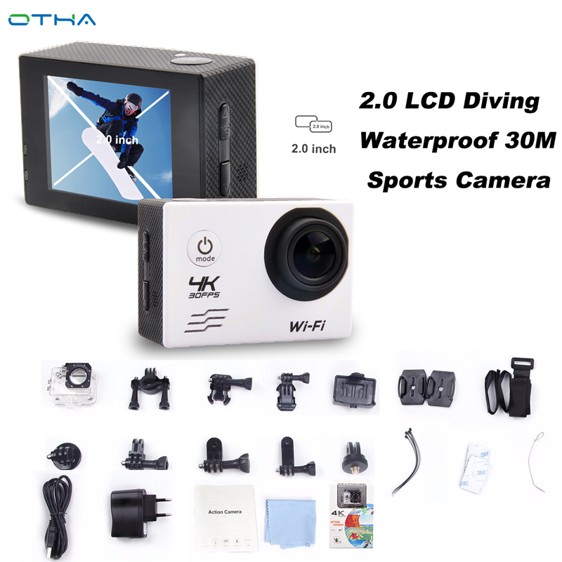 OTHA 4K Ultra HD WIFI Action Camera 2.0 LCD Diving Waterproof 30M Sports Camera Pro 1080P/30fps Video Camera 30L-5 Full-HD Cam цена