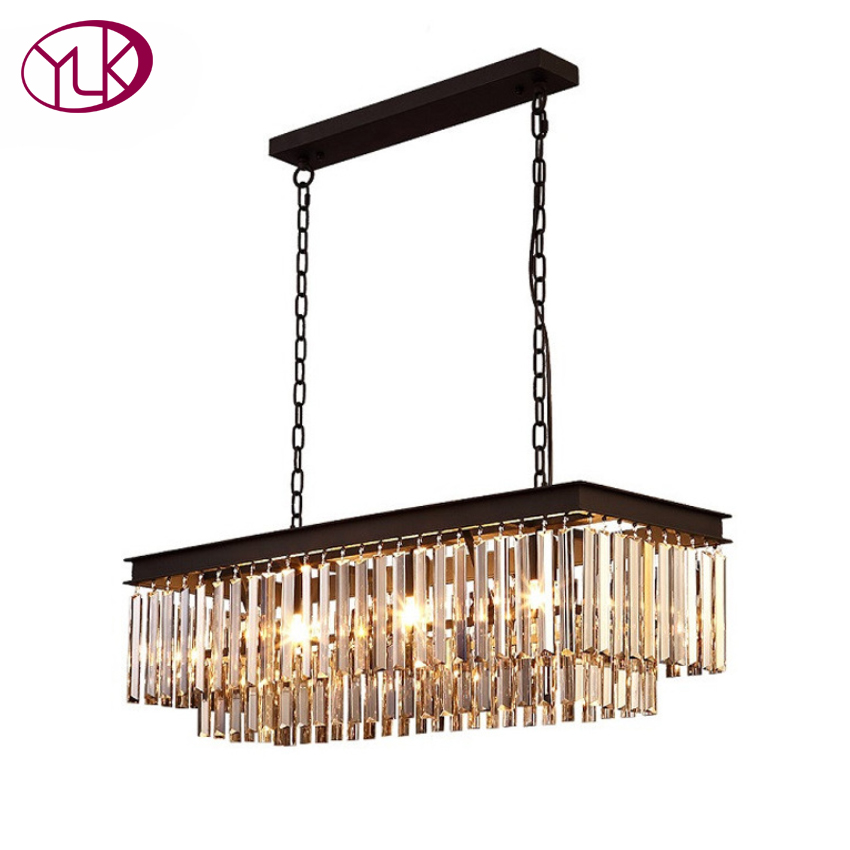 Free Shipping Vintage Style Lustre Crystal Pendant Lights Rectangle Pendant Lamp for Decor Hanging Lamp luminaria Light Fixtures modern nordic lustre crystal pendant lights circle round pendant lamp e14 for decor hanging lamp luminaria light fixtures avize