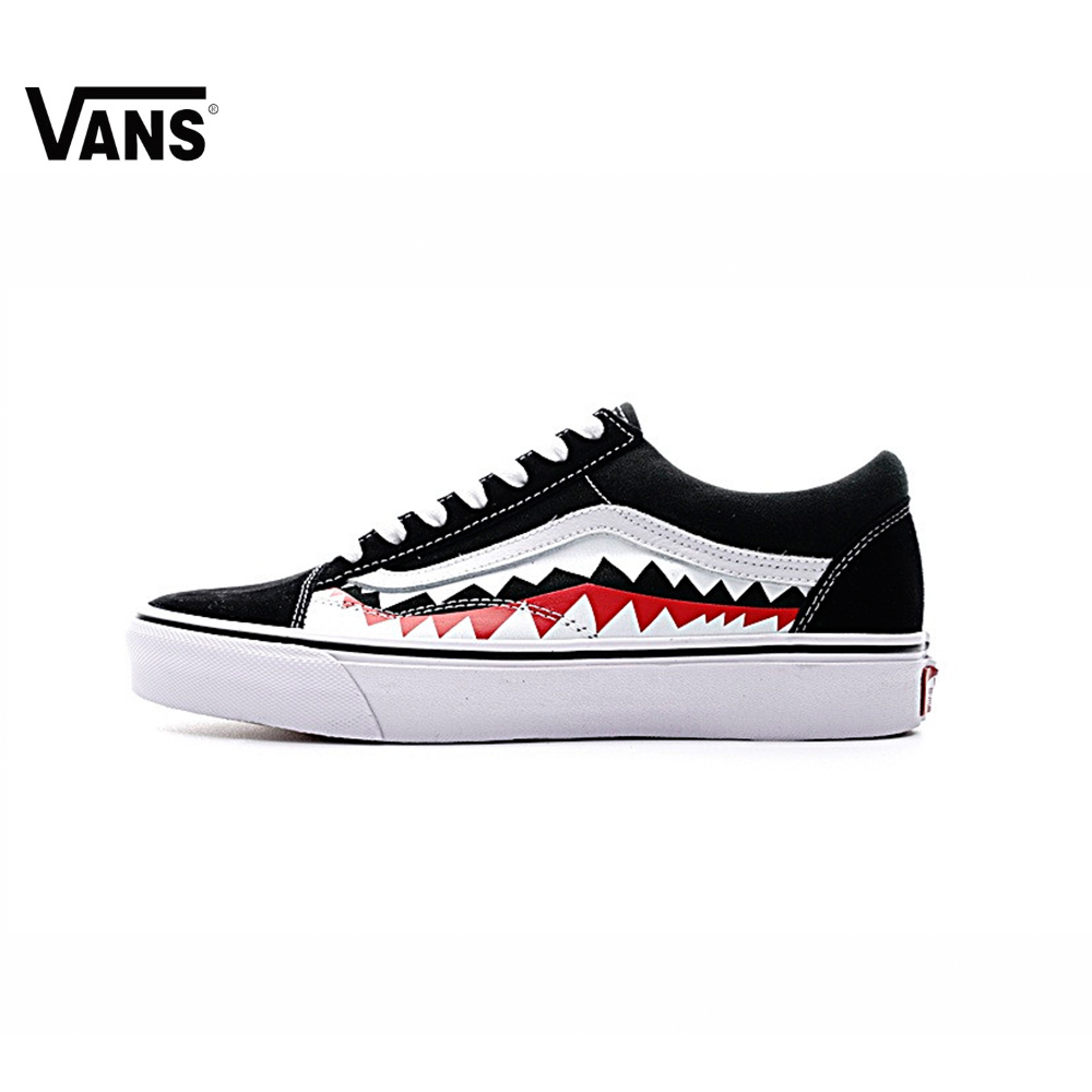 Original Vans Sneakers Mens Womens Classic X Bape Sharktooth Custom Bape Skateboarding S ...