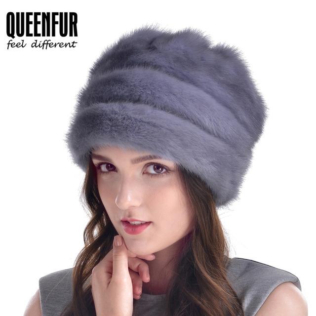 Buena Calidad de Invierno Sombrero De Piel de Visón Real Para Las Mujeres Nueva Rusia piel de Visón Auténtico estilo Gorros Con Pompones de Piel Casquillo Caliente Headwear