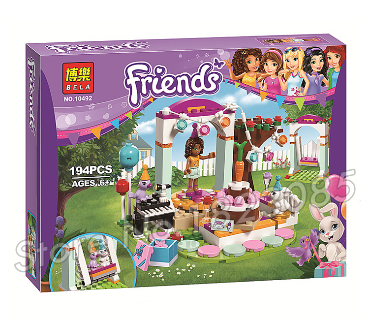 194pcs 2016 Bela 10492 Friends Birthday Party Mixed Building Bricks Blocks Classic Girls Toys Compatible With Lego