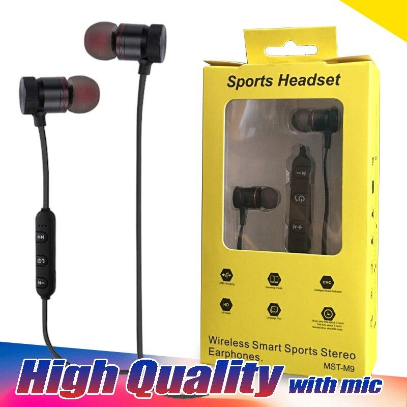 50 Stks/partij Hoge Kwaliteit Mst-m9 Draadloze Smart Sport Stereo Oortelefoon Bluetooth Mvo 4.0 Magneet Metalen Waterdichte Zweet-proof Gym En Om Een Lang Leven Te Hebben.