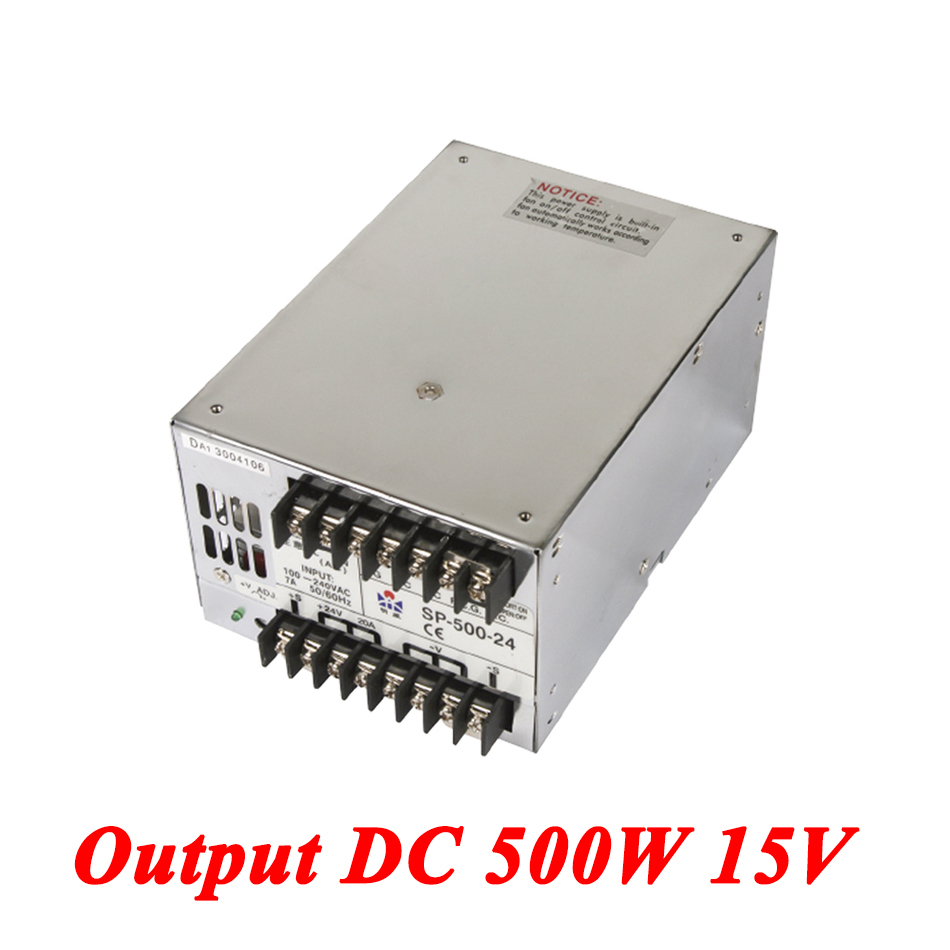 15v ac dc sp 75 15 single output with pfc function input fully range switching power supply SP-500-15 PFC switching power supply 500W 15v 33A,Single Output ac dc power supply for Led Strip,AC110V/220V Transformer to DC15