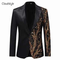 Cloudstyle 2018 Single Breasted Sequin Stage Suit Jacket Men Party Hip Hop Suit Fashion Digital Printing Drama costume Blazer