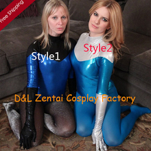 Free Shipping DHL Sexy Women Blue Shiny Metallic Zentai Suit Leotard 2 Styles For Events and Halloween Party SZ140513