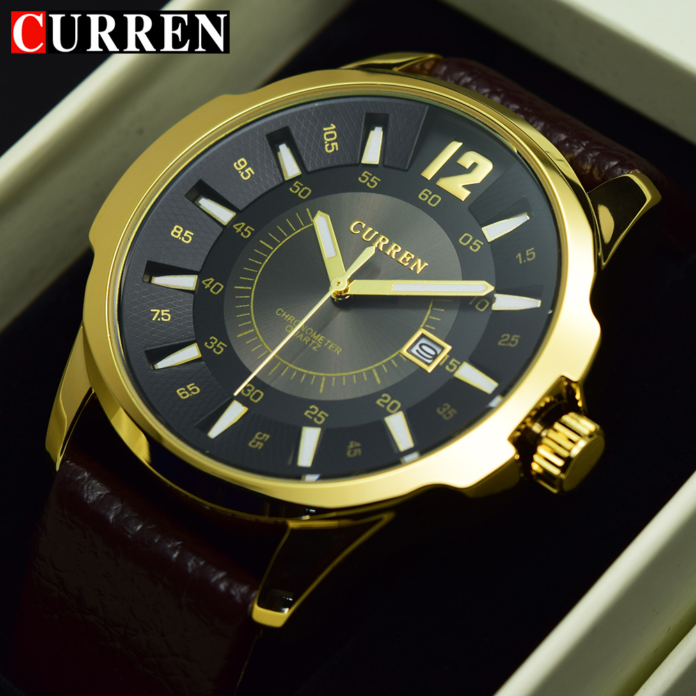 CURREN Gold Man Watch 2017 Men Watches Top Brand Luxury Famous Military Male Wristwatch Mens Clock Man Hodinky Relogio Masculino green sandalwood combed wooden head neck mammary gland meridian lymphatic massage comb wide teeth comb