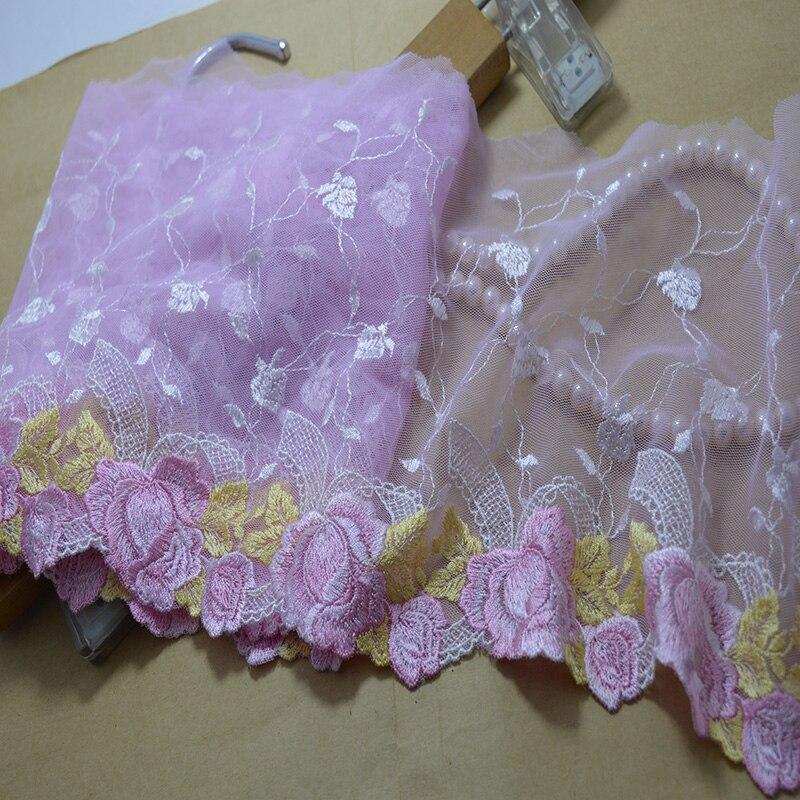 Одяг широкий 18 см (2 дд / лот) світло-рожевий сітчастий рожевий квітковий золото листя Висока якість вишивки мереживними тканинами та мереживом 201721808