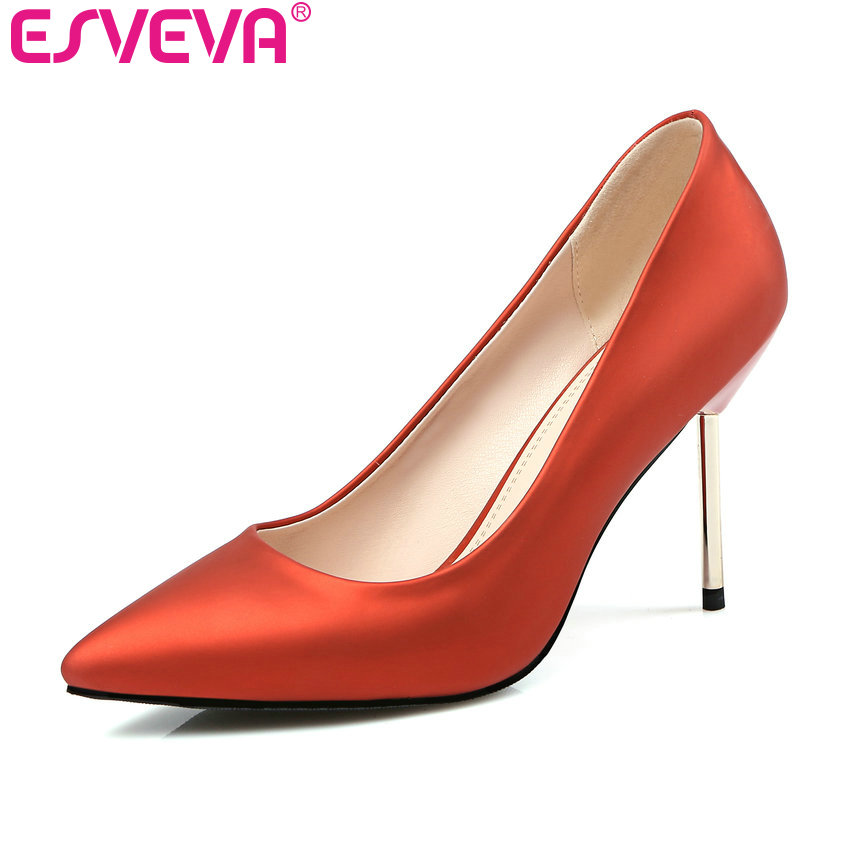 ESVEVA 2017 Thin High Heel Women Pumps Sexy Ladies Western Style Party Shoes Pointed Toe Women's Wedding Shoes Big Size 34-43 esveva sexy flock thin high heel women pumps summer party pointed toe woman pumps ankle strap ladies wedding shoe size 34 43