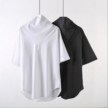 Summer loose-fitting stand-up collar men's short-sleeved shirt, Korean version of personality hip-hop large size.     S-6XL!!