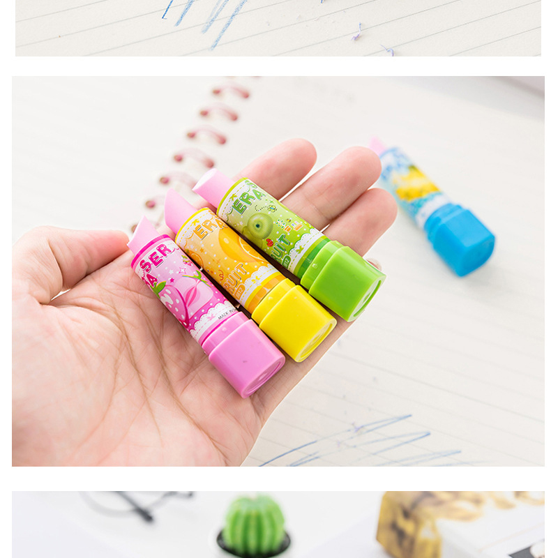 3 PCS Creative Lipstick Styling Eraser Novelty Rubber Cute Children School Students Learning Stationery Random Color