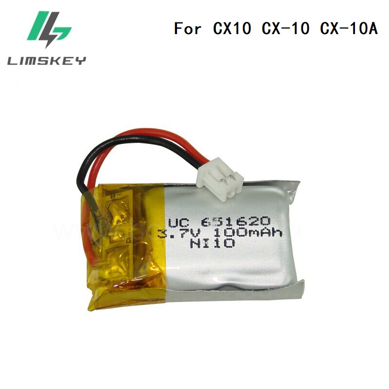 For Cheerson CX10 CX-10 CX-10A 3.7V 100mAh Battery For RC Quadcopter Spare Parts 3.7V 100mAh Lipo Battery