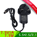 1pcs AC/ DC power adapter 7.5V 1A UK power supply with 5.5*2.5/2.1mm connector