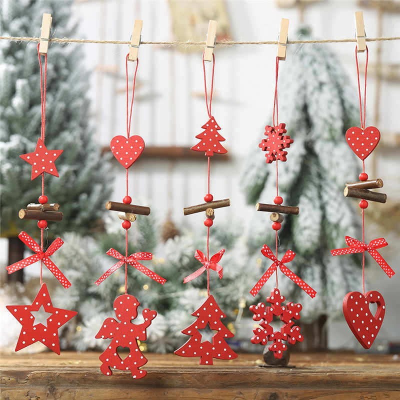 Wooden Christmas Ornaments Wood Star Pendants Pine Cone Christmas Tree Drop Ornaments Xmas Decor Christmas Decoration for Home