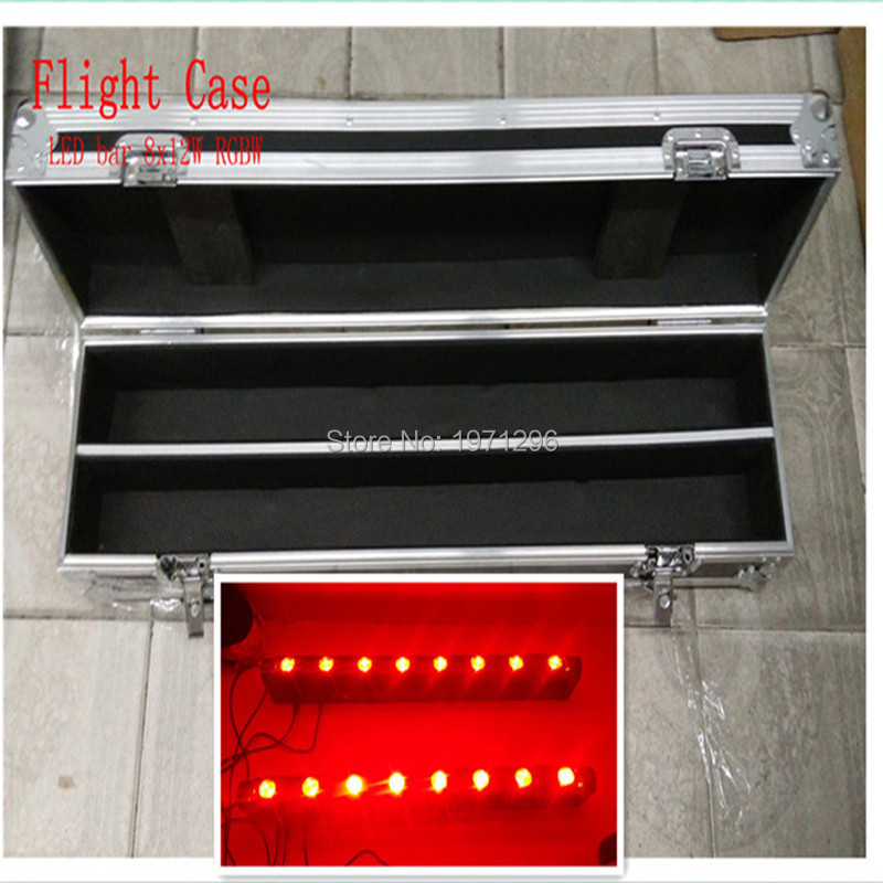 2pcs/lot with Flight Case Fast Shipping LED Bar Beam Moving Head Light RGBW 8x12W Perfect For Mobile DJ, Party, Nightclub