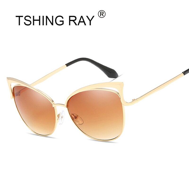 0175e70536 Ojo de Gato de las mujeres de la vendimia Gafas de sol moda sexy Celebrity  mujeres sombras retro cateye metal hueco grande espejo Sol Gafas UV400