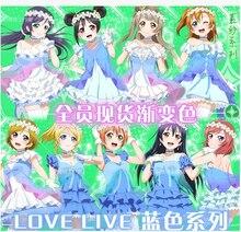 Nuevo Anime Love Live Sonoda Umi Minami Kotori Cosplay de Halloween Cos Todos Los Miembros Vestidos de Verano Conjunto Completo 2en1 (Vestidos + cuello ornamentación