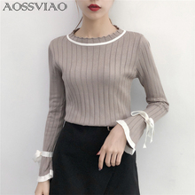 Casual Slim Sweater Women 2019 Autumn Spring Knitted Sweater Lace Up Flare Long Sleeve Ruffle Knitting Pullover Womens Sweaters