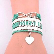 Infinity Bracelet Heart Charm Braided Leather  Bracelet&bangles Jewelry Christmas Gift Drop Shiping