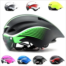 12 Color In-mold cycling helmet with lens Ultralight goggles bicycle helmet EPS+PC casco mtb road mountain bike helmet men/women