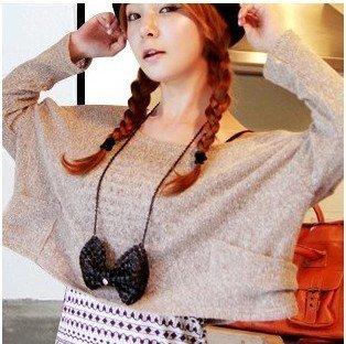big bow-tie coat chain necklace, cute sweater chain necklace, 6pcs/lot, Free Shipping