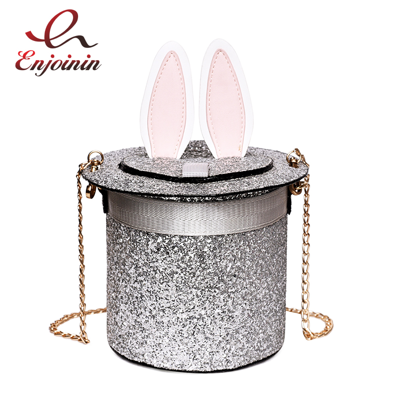 Cute Sequins Bunny Ears Fashion Bucket Style Ladies Shoulder Bag Tote Crossbody Mini Messenger Bag Chain Purse Bolsa Casual Bag