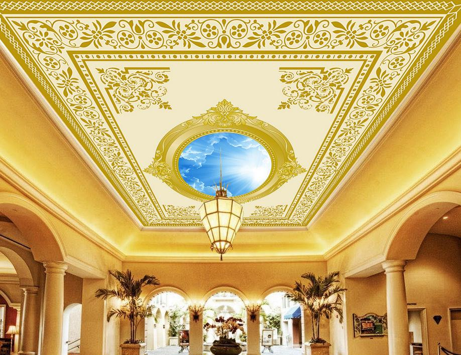 Online get cheap gold mural alibaba group for Ceiling mural decal