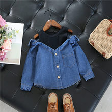 2017 Spring Fall 2-7Y denim Baby Girls shoulderless Blouse Child Long Sleeve School Girl Shirt toddler Kids casual Tops(China)