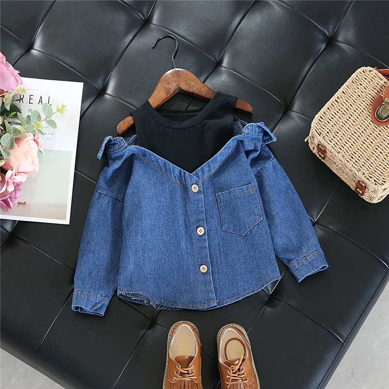 Little Girls   blouse     shirt   casual tops fall toddler baby girls denim shoulderless long sleeve school girls tops for 2-7 Years
