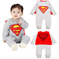 Superman Romper 2016 Spring Long Sleeve Jumpsuit  Unisex Baby Cartoon Super-Homem Pagliaccetto Cotton Cloak Superman Romper