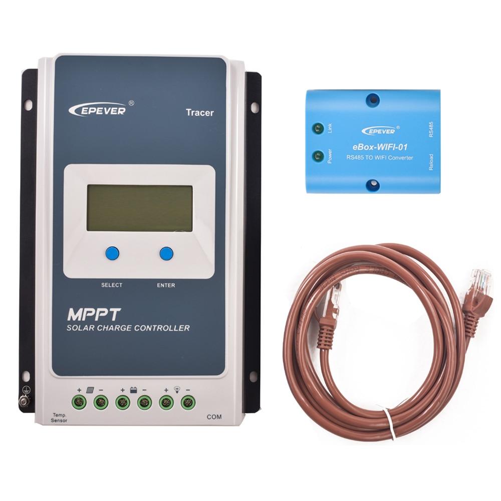 EPever 2210AN MPPT 20A контроллер солнечного заряда черный-легкий ЖК-солнечный регулятор для 12 В 24 В свинцово-кислотная ЛИТИЕВАЯ-ионная батарея+ MT50 - Цвет: 2210AN and WI-FI