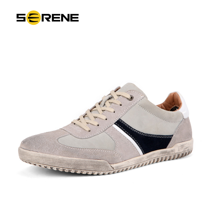 SERENE Brand 2017 Casual Shoes Men Autumn New Leather Lace Up British Fashion Shoes Breathable Flat With Solid Free Shipping9175