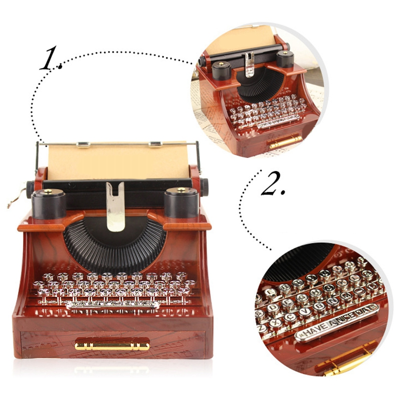 Home Retro Vintage Typewriter Music Box For Home Room Office Mechanical Decoration Kids Retro Music Box|Figurines & Miniatures| |  - title=