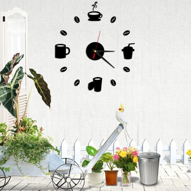 Mur Cafe Tasses Art Miroir Horloge Design Moderne Wall Sticker Pour Salon Fonds D Ecran Decoration De La Maison Decor