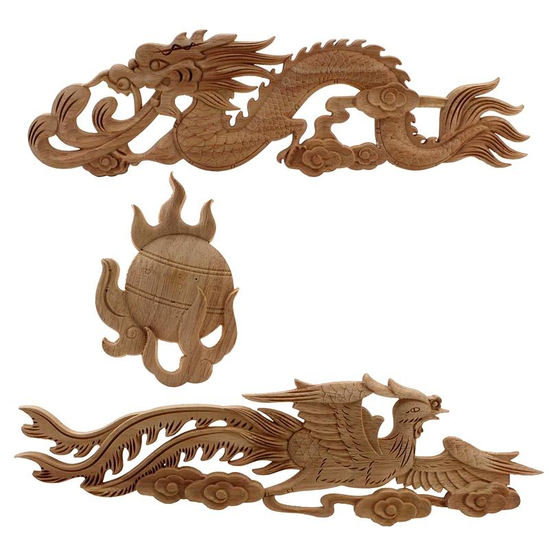 Китайский дракон резной наклейка углу аппликации Frame стены, двери мебель резьба по дереву Свадебные украшения Винтаж Home Decor