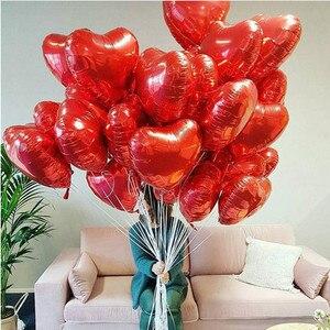 Image 5 - 15 шт./лот 18 дюймовый Золотой Серебряный Красный воздушный шар в форме сердца, чистый цвет, фольгированный Гелиевый шар для свадьбы, дня рождения, украшения для вечеринки