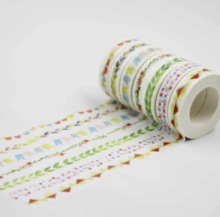 10mm*10m red flower green leaf diy decorative washi masking tape(1piece)