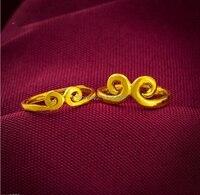 Пара свадебных колец/999 24 K желтое золото Волшебная фраза кольцо/8,5 г