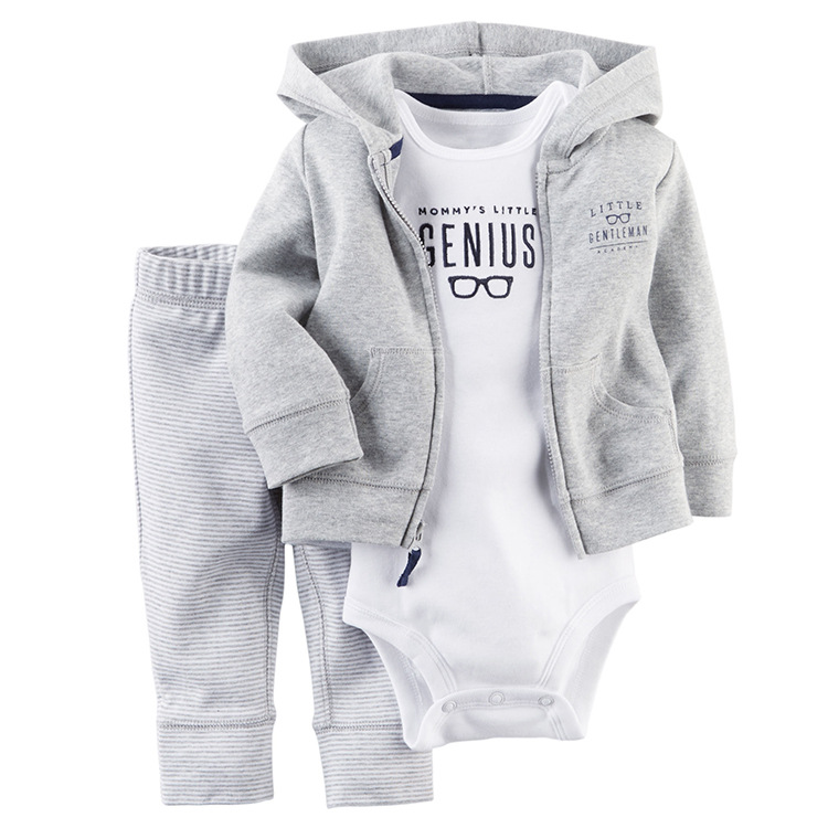 2017 New Arrival  Baby Boys Full 100% Cartoon O-neck long sleeve clothes,  Three piece long sleeve Hooded Jacket Romper pants baby rompers o neck 100