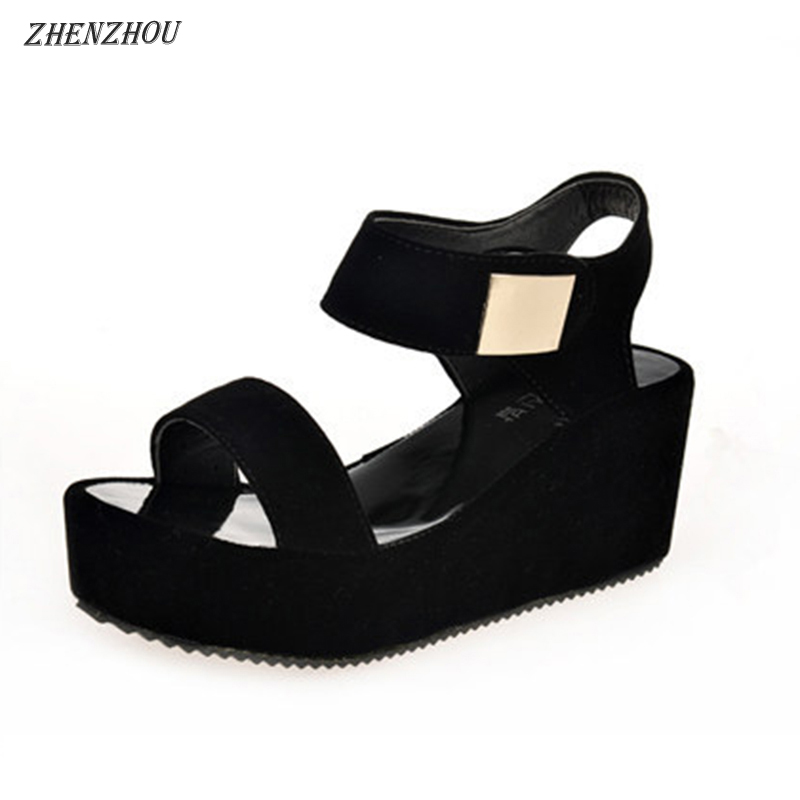 Free shipping shoes woman 2018 summer sandals woman's shoes sajdals platform with high heel and wedge with a pair of sandals ladylike women s sandals with bowknot and wedge heel design