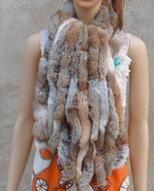 Настоящий вязаный шарф из меха кролика рекс женский зимний теплый натуральный мех шаль FP574 - Цвет: YellowGrass