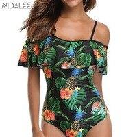 NIDALEE Pineapple Off Shoulder Floral Ruffle Swimwear Female Green Leaf One Piece Frill Swimsuit Women Swimming