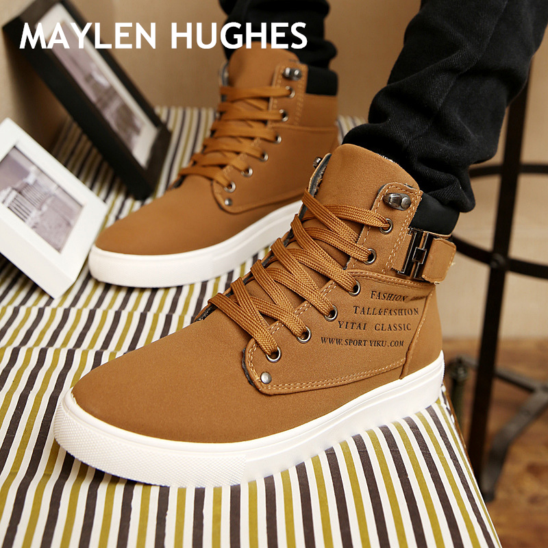 2018 Hot Men Boots Fashion Warm Winter Snow Boots Men shoes Autumn Leather Footwear For Man New High Top Canvas Casual Shoes Men цены